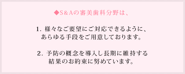 S&A審美歯科ポイント